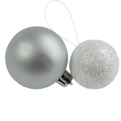 weihnachtskugel plastik wei silber 3 5 4 5cm 30st preiswert online kaufen. Black Bedroom Furniture Sets. Home Design Ideas
