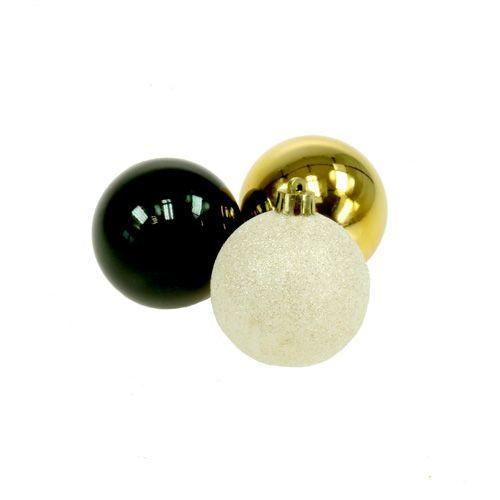 Christbaumkugeln Schwarz Gold.Christbaumkugel Mix Schwarz Gold O6cm 30st