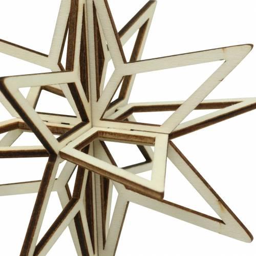 3D-Stern Holz zum Hängen 13,5cm 6St