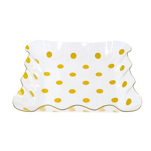 Acrylschale gelbe Punkte 16cm x 16cm x 3cm, 1 St