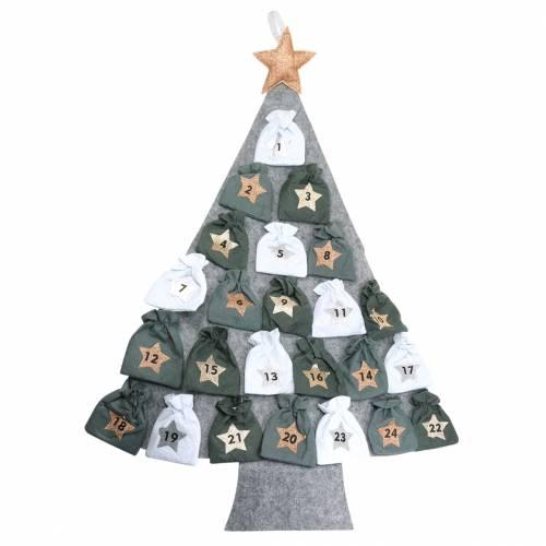 Adventskalender Tannenbaum mit Säckchen Filz Grau, Weiß 120×80 cm