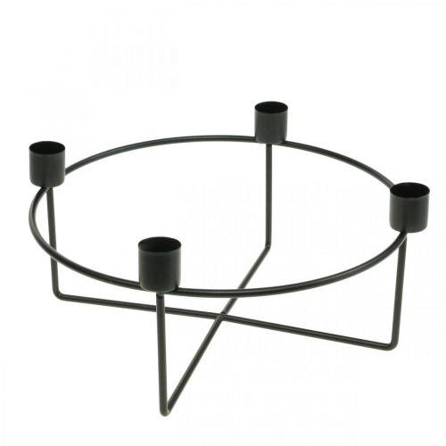 Kerzenhalter für 4 Stabkerzen Schwarz Metall H11cm Ø24,5cm