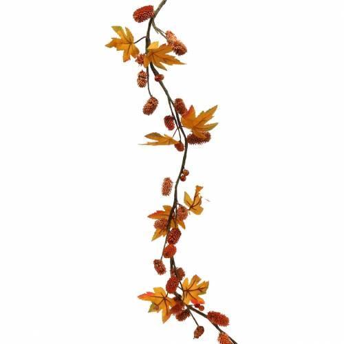 Herbstgirlande mit Ahorn-Blättern und Zapfen Orange 1,28m