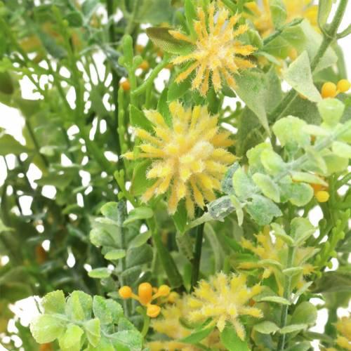 Strauß mit Gräsern und Blüten künstlich Gelb 53cm