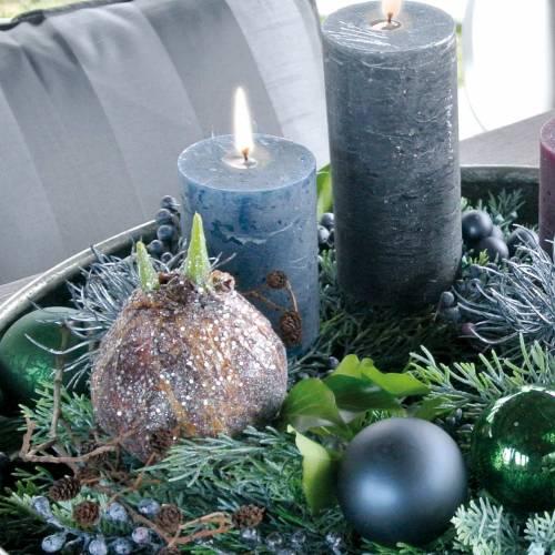 Amarylliszwiebel mit Glitter künstlich Braun H19cm