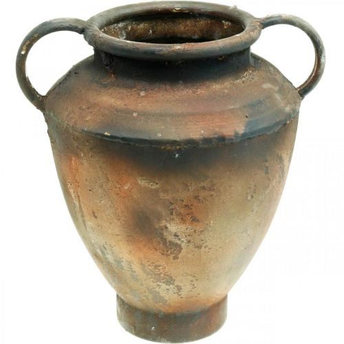 Amphore Antik Look zum Bepflanzen Vase Metall Gartendeko H29cm