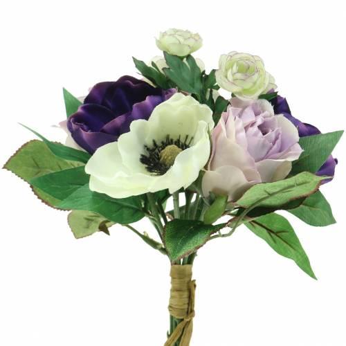 Strauß mit Anemonen und Rosen Violett, Creme 30cm
