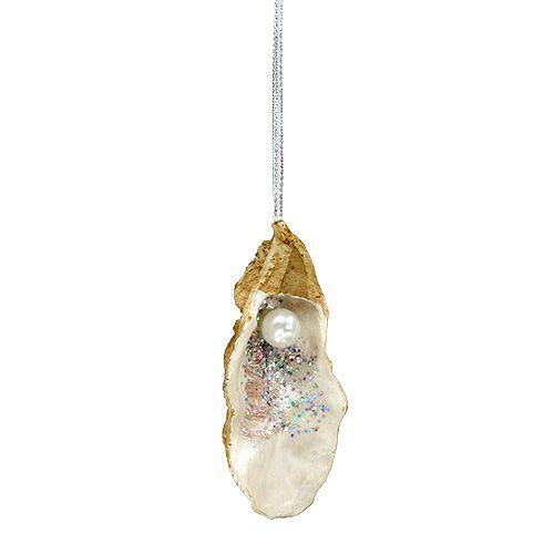 Auster mit Perle und Glimmer zum Hängen 10,5cm