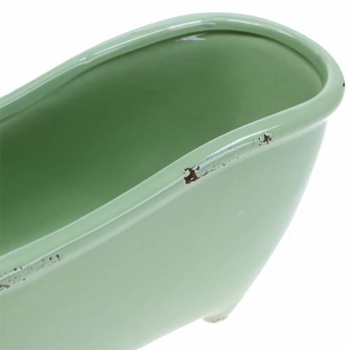 Deko Badewanne Keramik Grau, Grün sortiert 22cm x 10cm H10cm 3er-Set