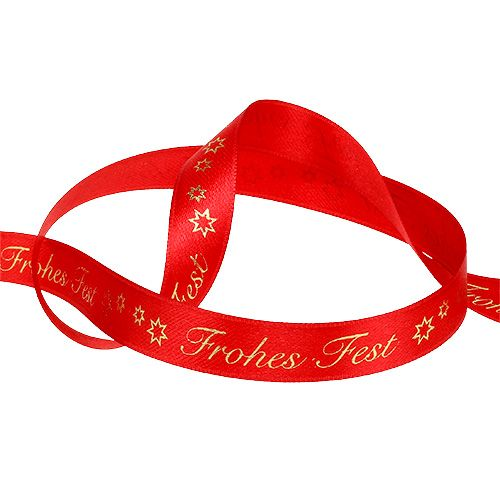 """Band mit """"Frohes Fest"""" Rot 15mm 20m"""