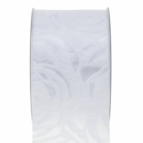 Dekoband Rosen Breit Weiß 63mm 20m