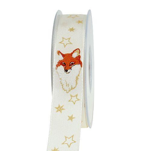 Weihnachtsband mit Dekor Fuchs Creme 25mm 20m