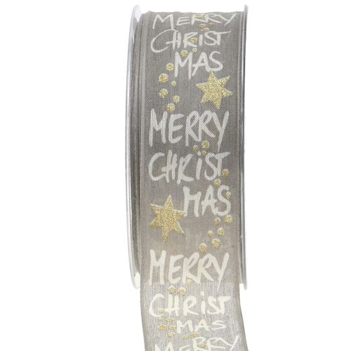 """Band """"Merry Christmas"""" Grau, Gold 40mm 20m"""