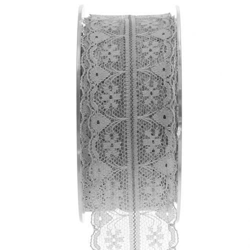 Spitzenband Vintage Grau 40mm 20m