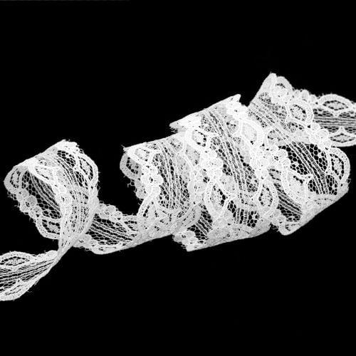 Spitzenband mit Wellenrand Weiß 25mm 20m