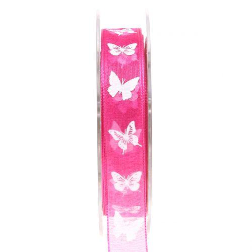 Organzaband Schmetterling Pink 15mm 20m