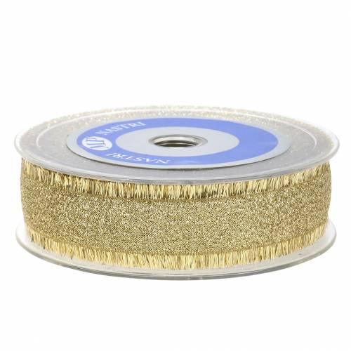 Deko Band Gold mit Fransen 25mm 15m