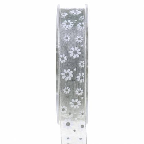 Organzaband Blumen Grau 20mm 20m