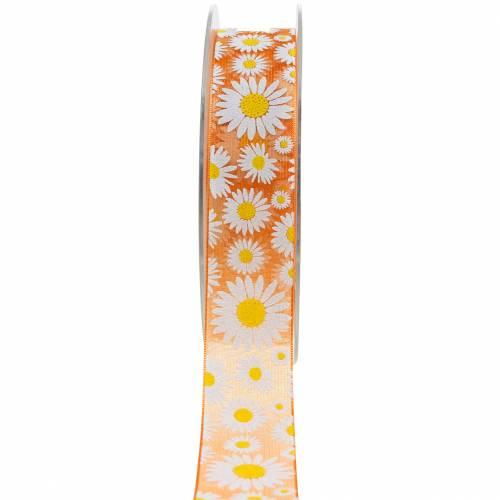 Organzaband Orange mit Blumen 25mm Dekoband Schmuckband 20m