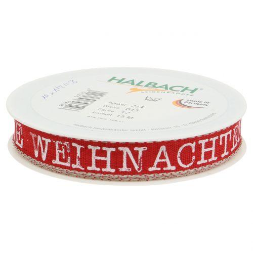 """Band mit Spruch """"Weihnachten""""  Rot 15mm 15m"""