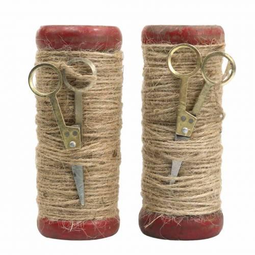 Garnspule mit Deko-Schere Ø6,5cm H15cm 2St Vintage-Stil