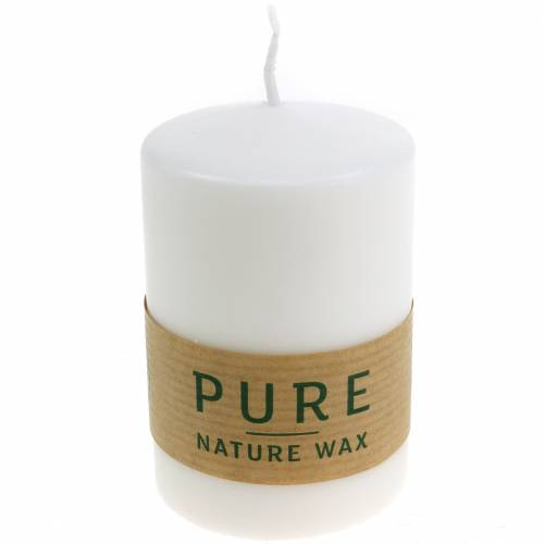 PURE Nature Safe Candle Stumpenkerze Stearin, Rapswachs 90/60mm 1St Weiß