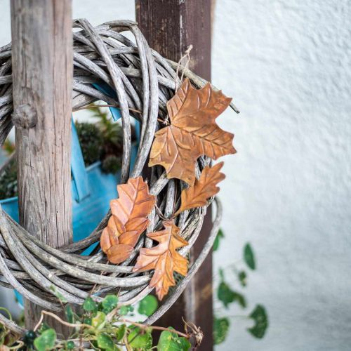 Blätter Metall zum Hängen Rostbraun Herbstblätter 7,5-10cm 4St