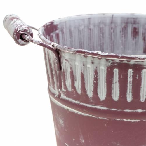 Blecheimer Lila weiß gewaschen Ø19cm H17cm 1St