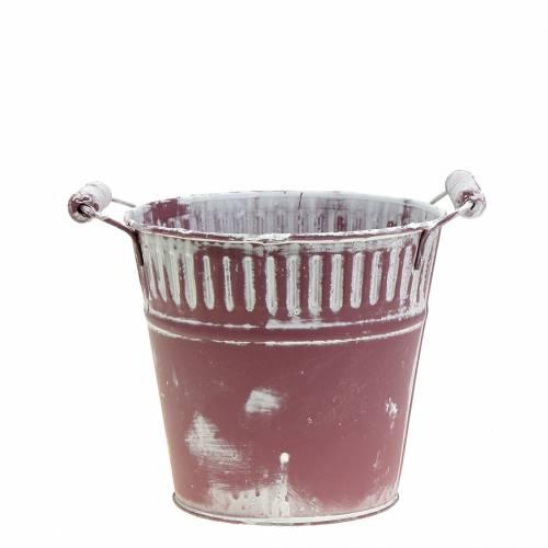 Blecheimer Lila weiß gewaschen Ø13cm H12cm 1St