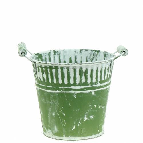 Blecheimer Grün weißgewaschen Ø13cm H12cm 1St