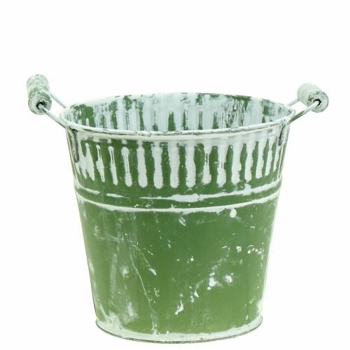 Blecheimer Grün weißgewaschen Ø16cm H15cm 1St