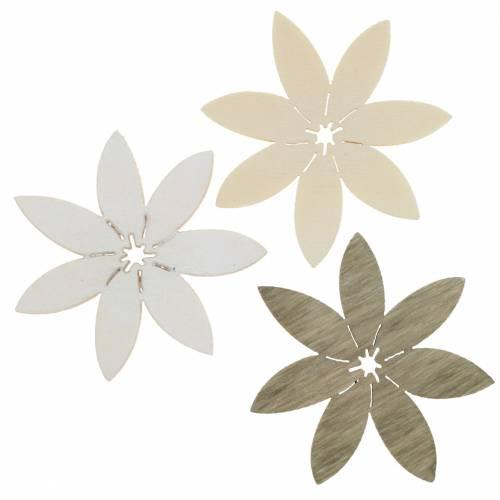 Holzblumen zum Streuen Weiß, Braun Ø4cm 72St