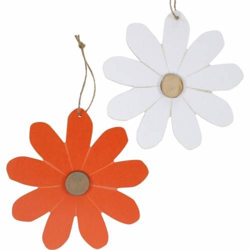 Blütenanhänger, Deko-Blumen Orange und Weiß, Holzdeko, Sommer, Deko-Blüten 8St
