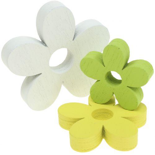 Holzblume Weiß/Gelb/Grün 3cm - 5cm 48St