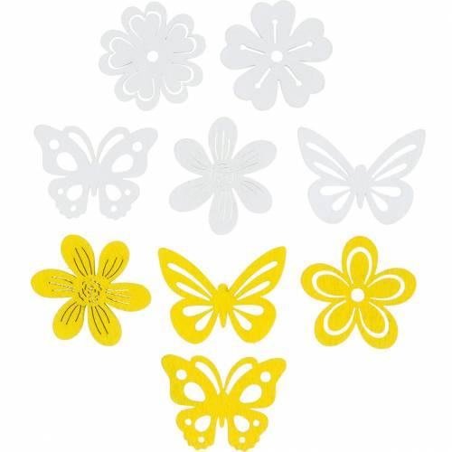 Blumen und Schmetterlinge zum Streuen Gelb, Weiß Holz Streudeko Frühlingsdeko 72St