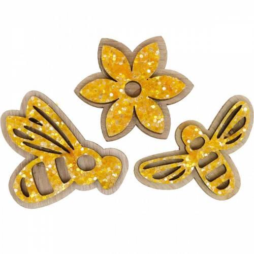 Blumen und Bienen zum Streuen Orange Holz Streudeko Frühling 36St
