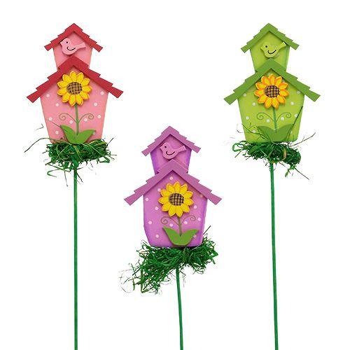 Blumenstecker mit Haus farbig 12St