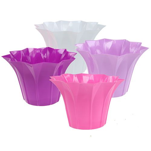 Blumentopf aus plastik 14cm h13cm lila sort 10st for Blumentopf plastik