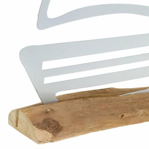 Boot auf Holzfuß Metall Weiß 25cm H24,5cm