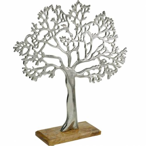 Metallbaum, Deko-Buche auf Holzfuß, Metalldeko Silbern, Lebensbaum, Mangoholz