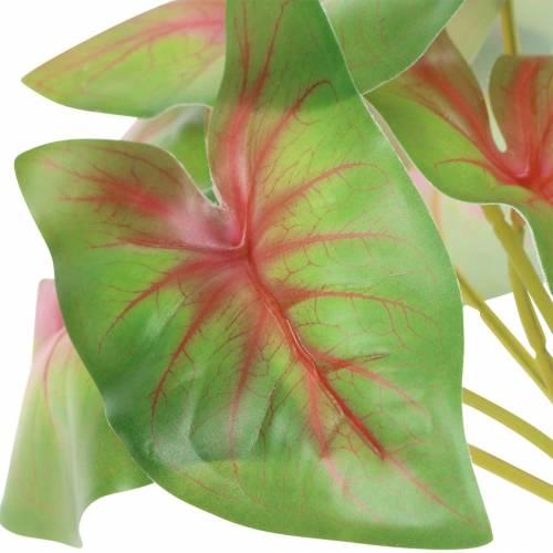 Künstliche Kaladie sechsblättrig Grün/rosa