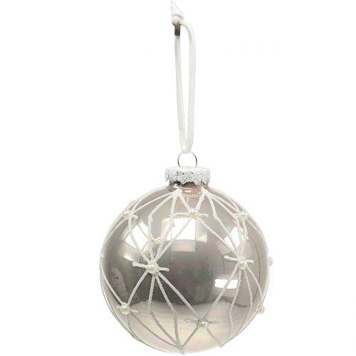 Glaskugel mit Perlen Champagner Ø8cm 3St