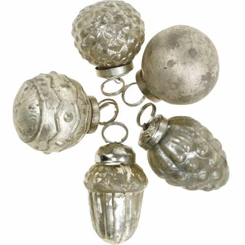 Mini-Baumschmuck Herbstfrüchte und Kugeln Perlmutt, Antik-Silbern Echtglas 3,4–4,4cm 10St