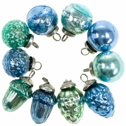 Mini-Baumschmuck Mix Herbstfrüchte und Kugeln Blau/Grün, Silbern Echtglas 3,4–4,4cm 10St