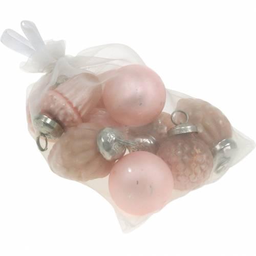 Mini-Baumschmuck Herbstfrüchte und Kugeln Rosa, Silbern Echtglas 3,4–4,4cm 10St