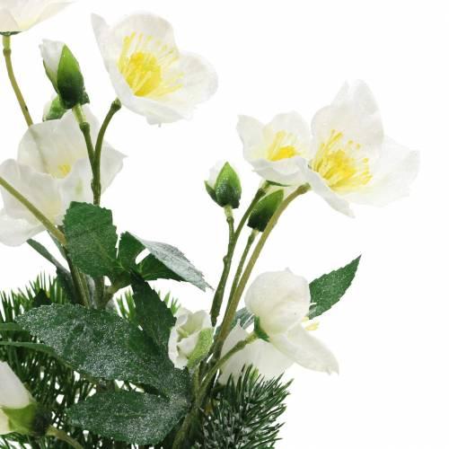 Christrose mit Tanne und Moosballen künstlich Weiß beschneit 33cm
