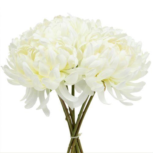 Deko Chrysantheme Strauß Weiß 28cm 6St