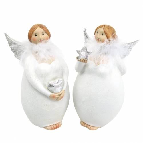 Deko Engel mit Herz und Stern Weiß, Silbern Ø7,5 H15cm 2St