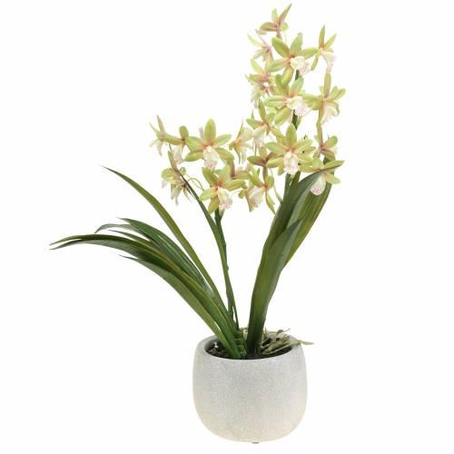 Orchidee Cymbidium Grün im Topf Künstlich H46cm