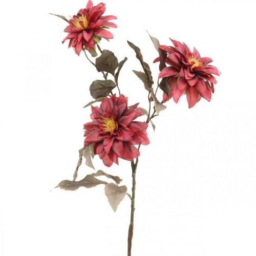 Kunstblume Dahlie Rot, Seidenblume Herbst 72cm Ø9/11cm